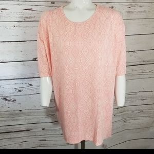 LULAROE IRMA Tunic PINK WHITE HIGH LOW MEDIUM